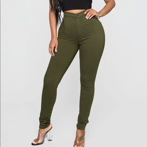 Olive green High waisted jeans